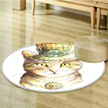 Print Area Rug Spiritual Cat with Hat and Occult Eye Collar Trick Theme Perfect for Any Room, Floor Carpet-Round 71