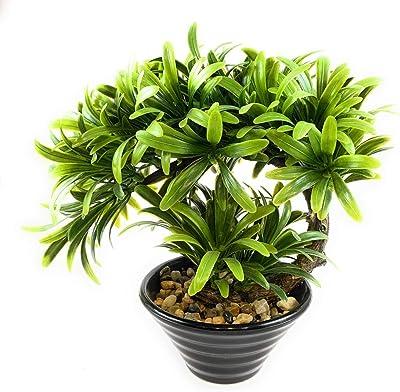 Nyrwana Bonsai Wild Plant Artificial Plant with Pot 1pc (Green)