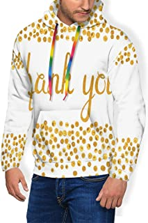 Men's Hoodie Plus Velvet Sweatshirt,Sweet Paint Dots in Yellow Tone Illustration with Thankful Quote Cursive Style 3XL