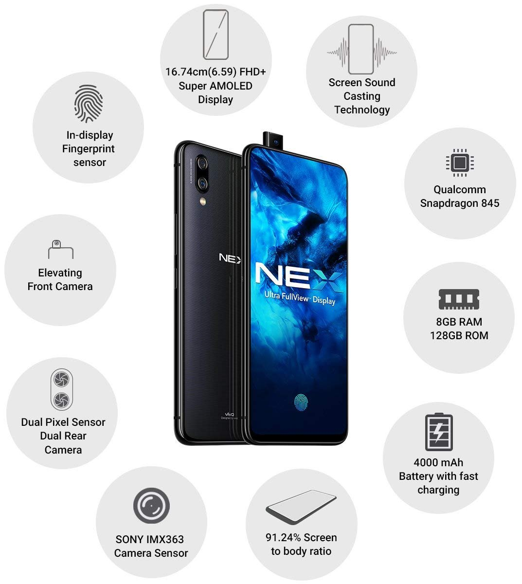 Vivo NEX (Pantalla Ultra FullView, Memoria de 8GB RAM + 128GB ...