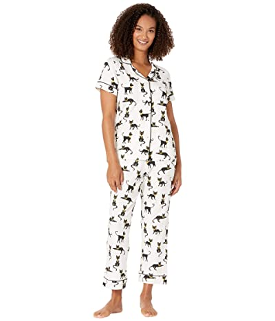 BedHead Pajamas Short Sleeve Cropped Pajama Set (Cairo Kitten) Women
