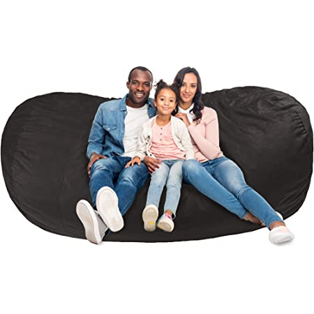 Amazon Basics Memory Foam Filled Bean Bag Lounger with Microfiber Cover - 7', Gray