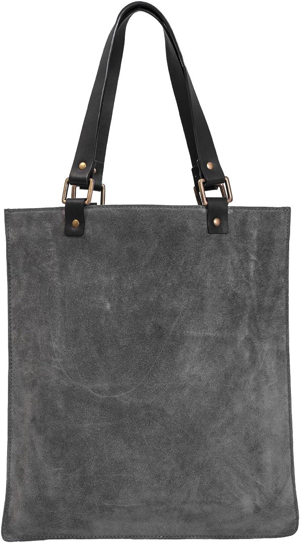 Paint Genuine Leather Grey Suede Sleek Tote Bag