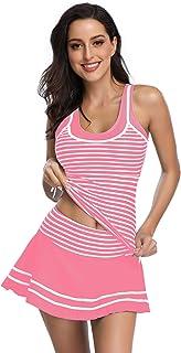 MiYang Women's Tankini Sets with Striped Vintage Boyshort Two Pieces Swimsuits Swimwear Swim Dress Pink S