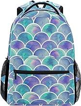 ZZKKO Colorful Mermaid Scale Boys Girls School Computer Backpacks Book Bag Travel Hiking Camping Daypack