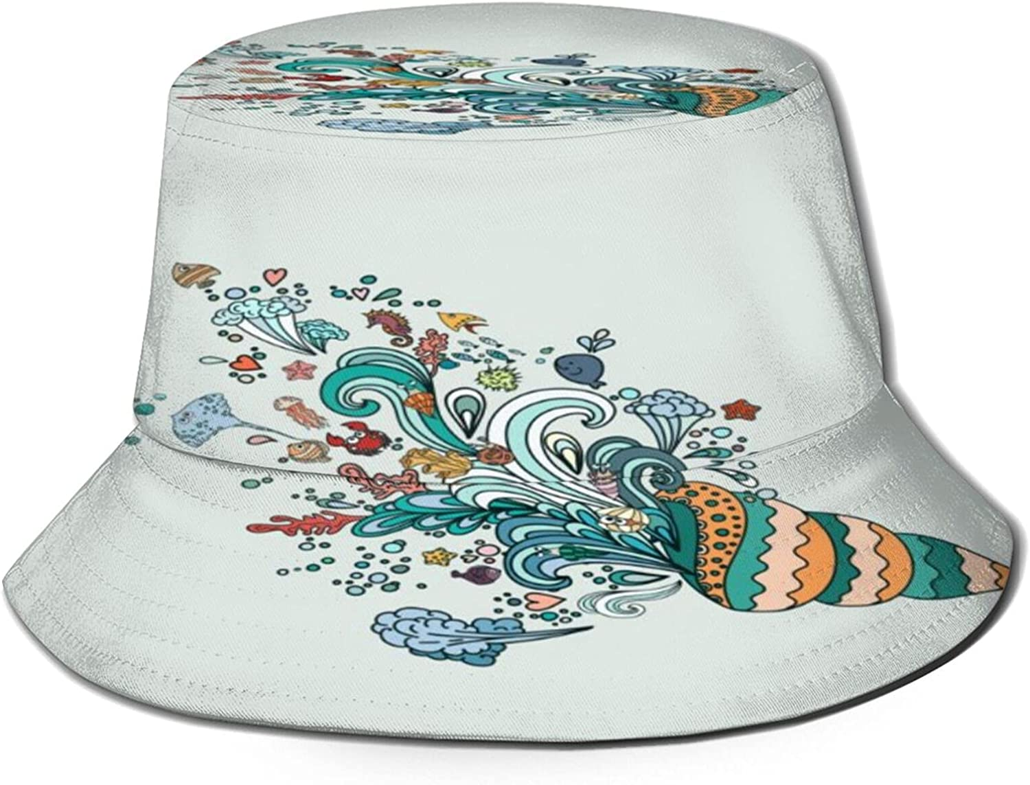 Ocean Life Colorful Seashell with Animals Bucket Hat Unisex Sun Hat Summer Packable Fisherman Hats Black