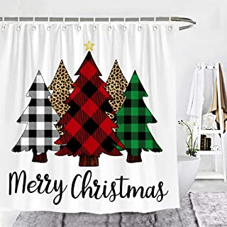 Merry Christmas Shower Curtain Years Colorful Christmas Tree Winter Balls Ribbon Kids Decor Fabric Set Polyester Waterproof 72x72 Inch 12-Pack Plastic//Hooks