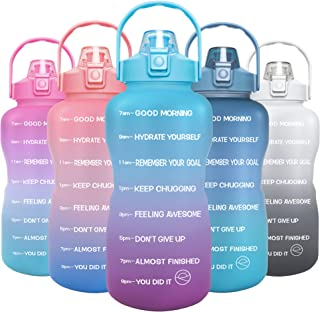 GOSWAG 1 Gallon/128oz Water Bottle with Straw and Time Marker, Motivational BPA Free Leakproof Sports Water Jug for Fitnes...