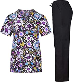 Women's Stretchy Medical Scrub Printed Set Top and Pants