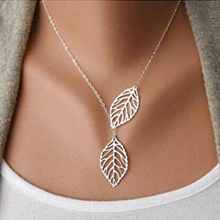 Aukmla Chic Leaf Shaped Chain Jewelry Necklaces for Women...
