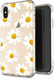 JIAXIUFEN Compatible with iPhone X iPhone Xs Case Clear Cute White Chrysanthemum Slim Shockproof Flower Floral Desgin Soft Flexible TPU Silicone Cover Phone Case