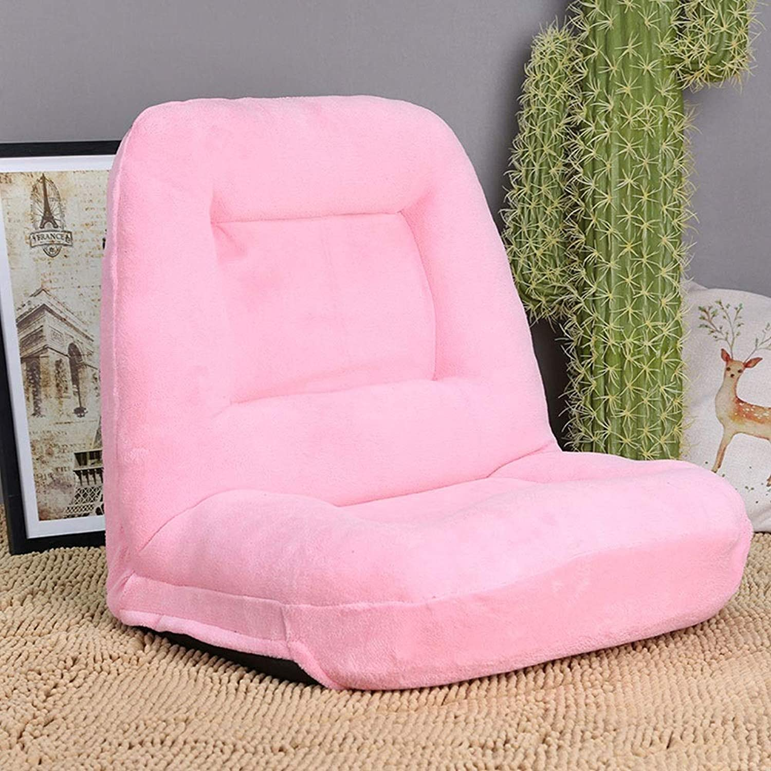 Lazy Couch Single Tatami Floor Chair Balcony Bay Window Lunch Break Dormitory Dorm Foldable Bed net red Back (color   Pink)