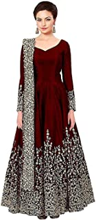 BRIDAL4Fashion Women's Taffeta Silk Semi Stitched Anarkali Long Gown (Free Size)