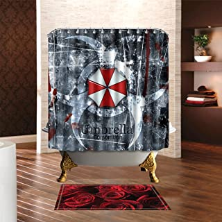 YSpring Resident Evil Umbrella Corporation Emblem Background Fabric Shower Curtain with Rings Polyester Waterproof Bathing Curtain Set(70.8in70.8in)