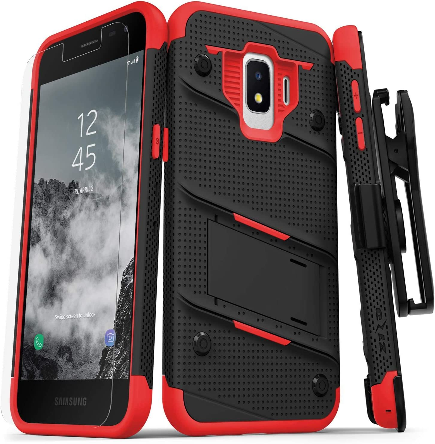 ZIZO Bolt Series Samsung Galaxy J2 Case Military Grade Drop Tested with Tempered Glass Screen Protector Holster J2 Pure Black Red