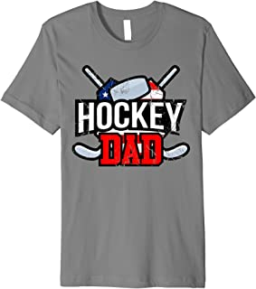 Hockey Dad fathers day gift for men hockey son sticks puck  Premium T-Shirt