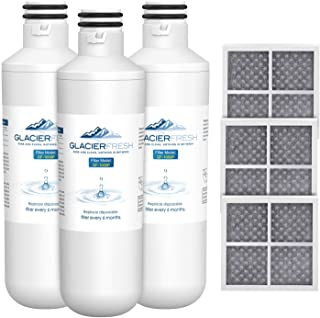 GLACIER FRESH Water Filter LT1000P Compatible with LG LT1000P/PC/PCS, LT1000PC, LT-1000PC, MDJ64844601, 9980 Water Filter, and LT120F, ADQ73214404 Air filter Combo, 3 Pack