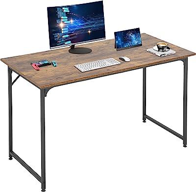 "Computer Desk Home Office Desk 48""W x 24""D Gaming Desk Corner Writing Black Large Student Art Modren Simple Style PC Wood and Metal Desk Workstation for Small Space,Vintage"
