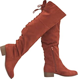 Shoes Women's Over The Knee Back Lice Up Flat Boots
