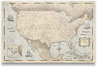 Conquest Maps United States Family Travel Map Rustic Vintage Style Push Pin Destination Map, Pinable Canvas Map with Cork Backing, Ready to Hang. with Push Pins (24 x 16 Inches)