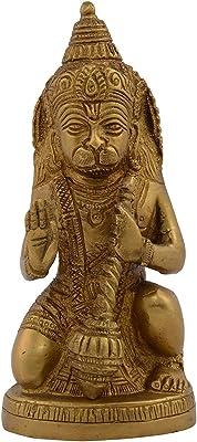 Kapasi Handicrafts Emporium Brass Lord Hanuman Sitting Idol Statue