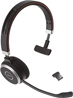 Jabra Evolve 65 MS Wireless Headset, Mono – Includes Link 370 USB Adapter – Bluetooth Headset with Industry-Leading Wirele...