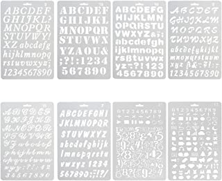NouveLife Lot de 8 Pochoir Chiffre et Letter Pochoir Alphabet Peinture Réutilisable Souple Majuscule Minuscule Caractère d...