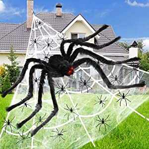 VATOS Halloween Giant Spider Web Outdoor Decorations - 16.4Ft Triangle Spider Web 59