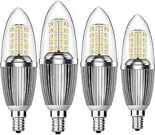 Hzsane Bombillas de Vela LED E14 de 12W, Bombillas Incandescentes Equivalente de 100W, Blanco Frío 6000K, 1200Lm, Pequeño Tornillo Edison Para Bombillas de Vela, Paquete de 4