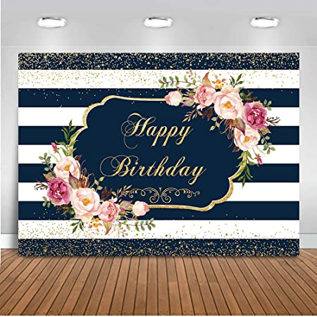 Mocsicka Rose Gold Happy Birthday Backdrop Pink Rose Birthday Photography Background 7x5ft Womens Birthday Party Photo Backdrops Banner