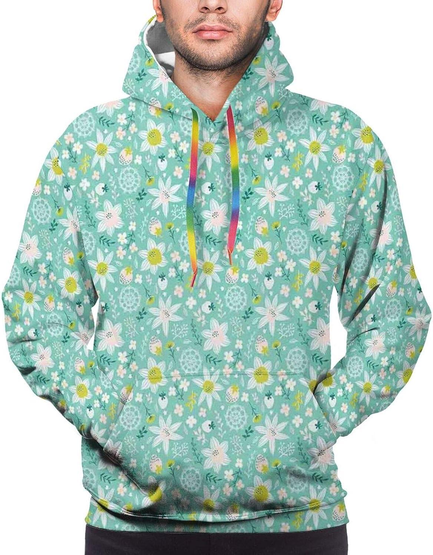 TENJONE Men's Hoodies Sweatshirts,Scandinavian Style with Flowers Leaves Berries Ornamental Motif