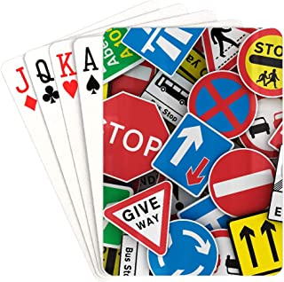 YPink Poker Playing Card Chaotic Collection Traffic Signs United Kingdom Game Playing Cards Unique for Kids & Adults Card ...