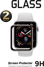 2 Pack - Screen Protector 38mm for Apple Watch Series 3/2/1 Full Coverage 2.5D Curved Anti-Scratch Tempered Glass Film for Apple iWatch (Black 38mm)