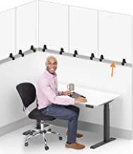 Stand Steady Clear Cubicle Wall Panel | Clamp On Protective Acrylic Shield & Sneeze Guard | Portable Desk Divider for Desk...