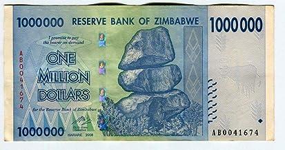 Zimbabwe 1 Million Dollars 1,000,000 2008 AA//AB Circulated