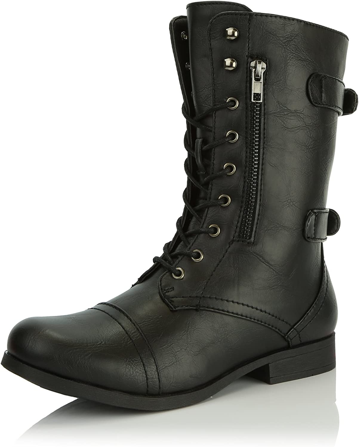 Dailyshoes Women's Evan-10 Ankle Zipper Strap Military Combat Boots
