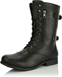 4e4fd7b9a6e86 DailyShoes Women's Ankle Bootie High Lace up Military Combat Mid Calf  Credit Card Knife Money Wallet