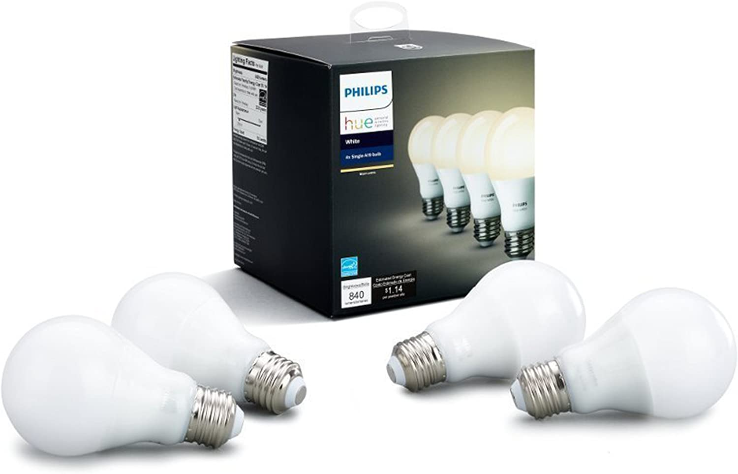 Philips Hue White 4-Pack A19 60W LED Smart Dimmable Compa Bulbs Max 50% OFF Indefinitely