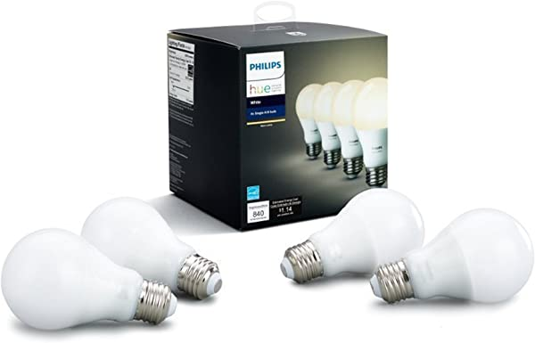 Philips Hue White 4 Pack A19 60W Dimmable LED Smart Bulbs Compatible With Alexa HomeKit Google Assistant Hub Required All US Residents