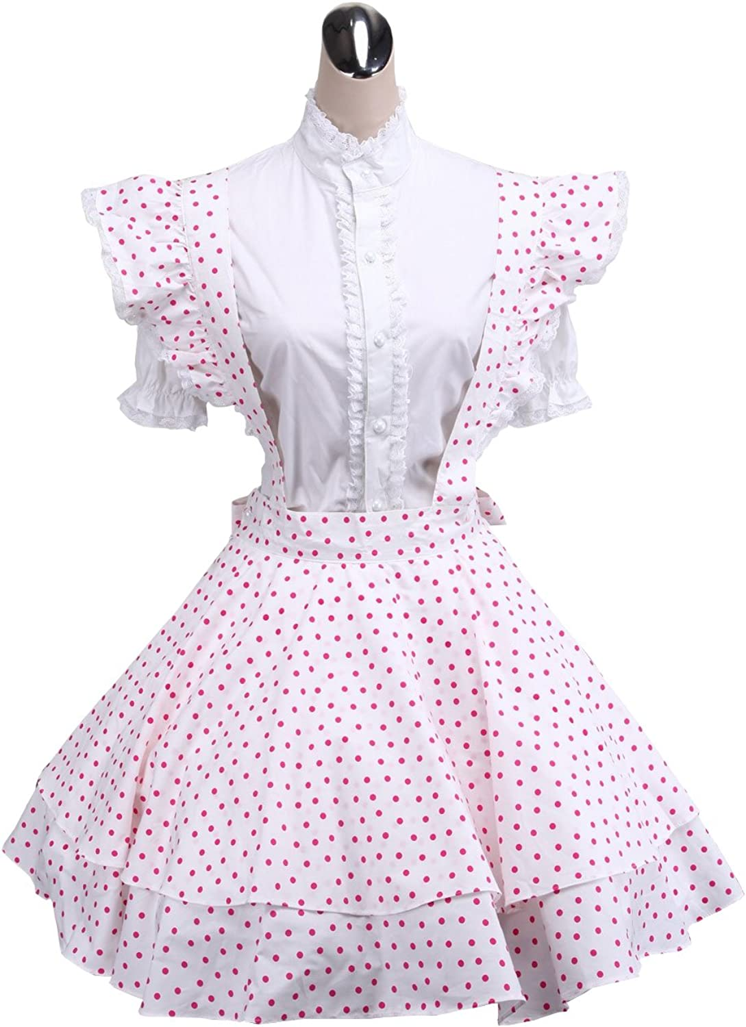 Antaina White Cotton Pink Polka Dot Sweet Victorian Maid Lolita Cosplay Dress