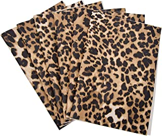 CHZIMADE A4 Size Leopard Printed Fabric Faux DIY Sheet Canvas Back Great for Hair Bows Making Craft (6pcs-B)