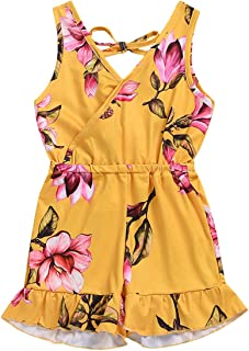 6169f1d19a1 Kids Girls Sleeveless Floral One Piece Jumpsuit Rompers Overalls Shorts  Outfits