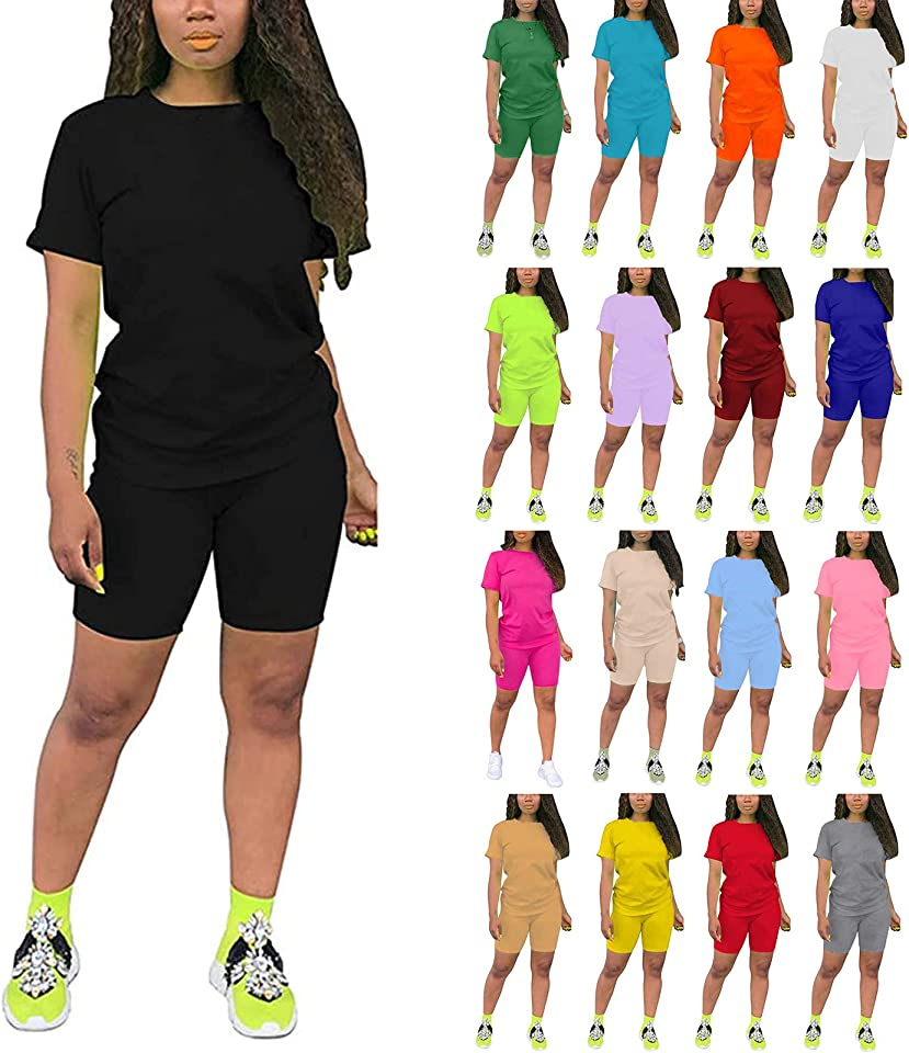 IAOUDIHV 2 Pieces Short Outfits for Women Short Sleeve Tops Shorts Sets Solid Suit for Workout Sport Biker Yoga Outfit