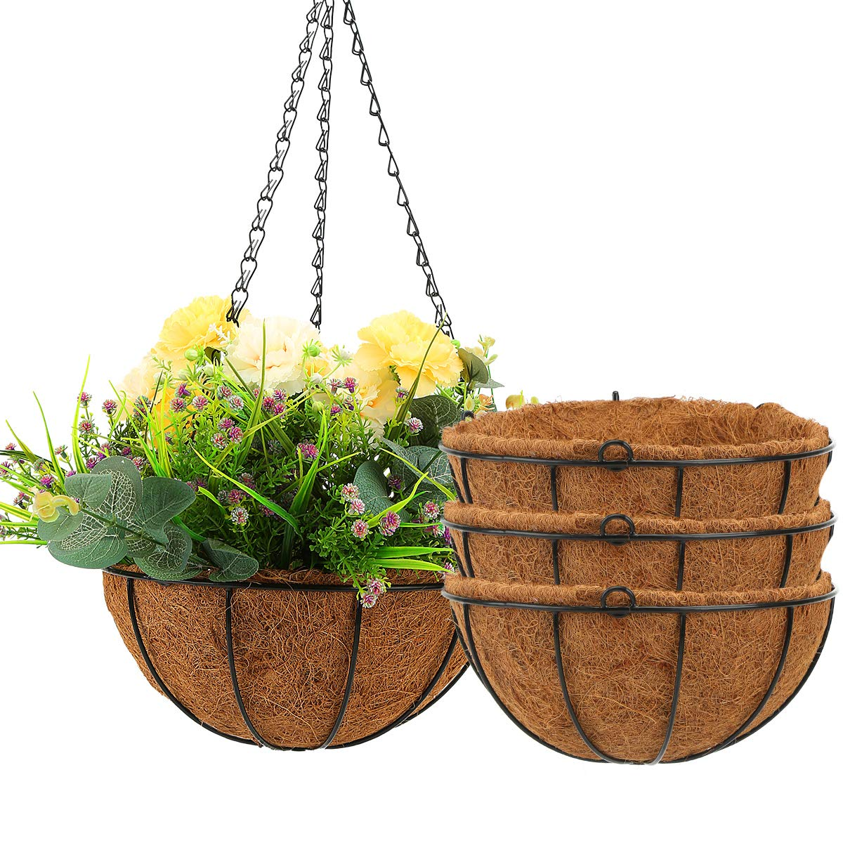 Amazon Com Angchun Hanging Planters For Outdoor Indoor Plants 4 Pack 10 Inch Metal Flower Pots With Coco Coir Liners Wire Plant Holder With Hanger For Patio Porch Garden Decoration Watering Hanging Baskets