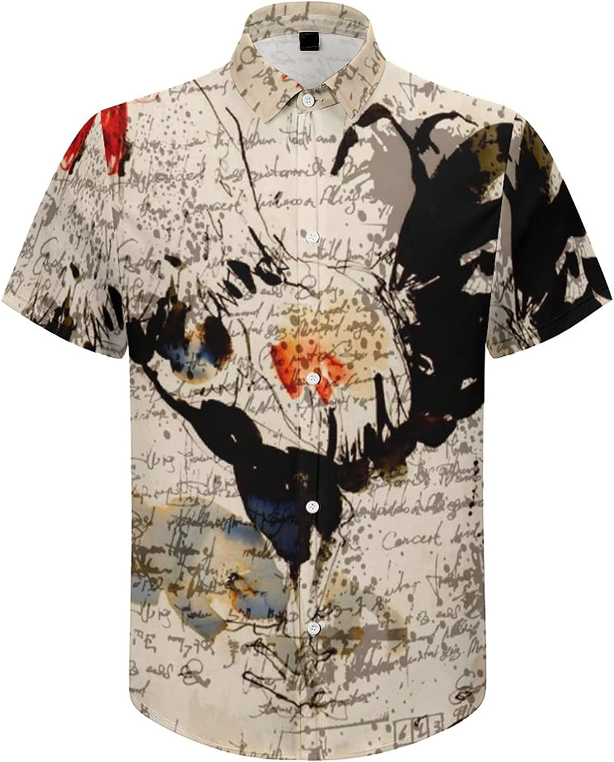 Men's Regular-Fit Short-Sleeve Printed Party Holiday Shirt Abstract Rooster