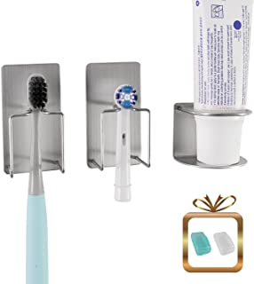 wanyu Bathroom Wall Mounted Holder for Your Toothpaste, Toothbrush and Electric Tooth Brush Head – Self-Adhesive Stainless Steel Mount Stand with Minimalist Design – Space Saving & Hygienic Solution