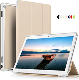 ELTD Funda Carcasa para Huawei MediaPad M3 Lite 10, Ultra Delgado Silm Stand Función Smart Fundas Duras Cover Case para Huawei MediaPad M3 Lite 10 Tableta, (Oro)