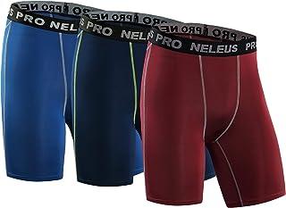 Neleus Men's 3 Pack Compression Short,047,Blue,Navy,Red,M