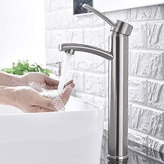 Comllen Contemporary Single Handle Brushed Nickel Tall Vessel Sink Bathroom Faucet, Vessel Faucet Brushed Nickel