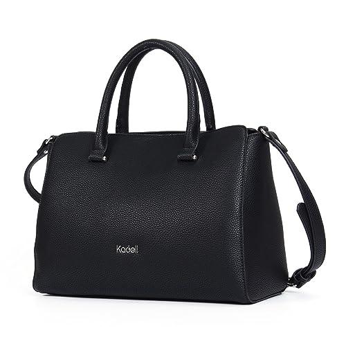 1be6677b18f37 Kadell PU-Leder Handtaschen Damen Taschen Luxus Umhängetasche Top Griff  Geldbörse Schwarz
